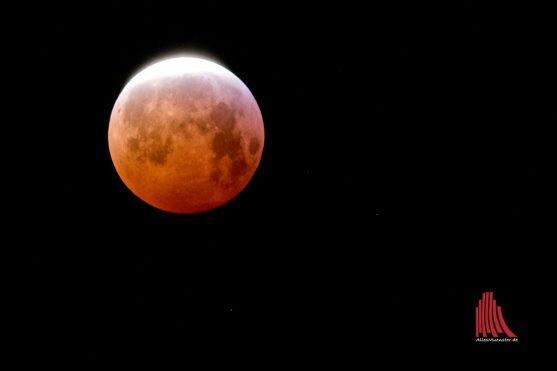 Um 6.44 Uhr trat der Mond langsam wieder aus dem Erdschatten hervor. (Foto: Michael Bührke)