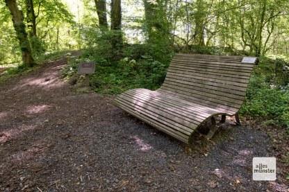 """In den Naturschutzgebieten """"Hirschpark"""" und """"Ichterloh"""" gibt es an mehreren Stellen Bänke zum Ausruhen. Hier vor einem mittelalterlichen Turmhügel. (Foto: Michael Bührke)"""