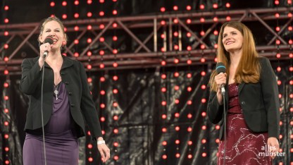 Rosana Cleve und Ivana Langmajer vom Wolfgang Borchert Theater. (Foto: Thomas M. Weber)