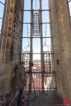 Auf dem Lambertikirchturm. Vorne: die Wiedertäufer-Käfige. (Foto: Thomas M. Weber)
