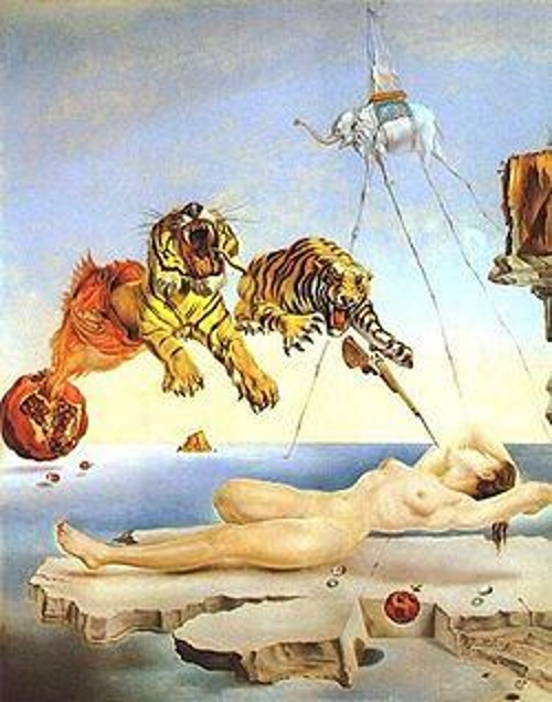 Dream Caused by the Flight of a Bee Around a Pomegranate a Second Before Awakening - TOP 10 MOST BEAUTIFUL PAINTINGS OF SALVADOR DALI