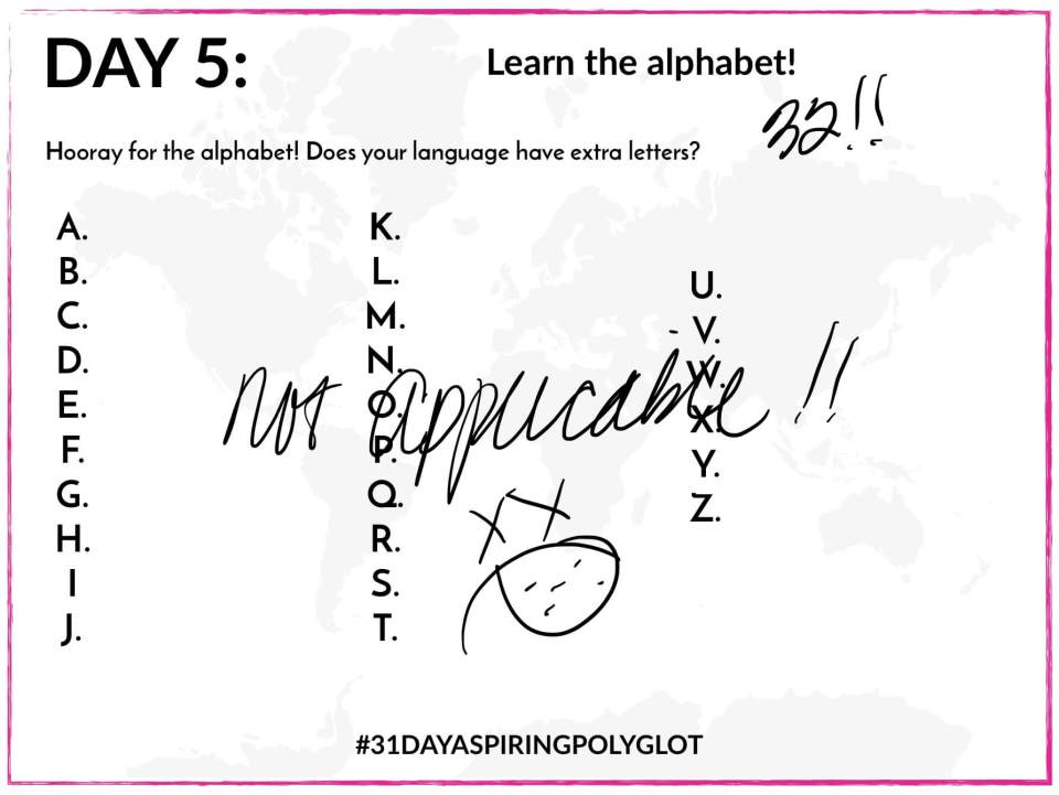 AE - DAY 5 - 31 DAY ASPIRING POLYGLOT - ALPHABET WORKSHEET 1