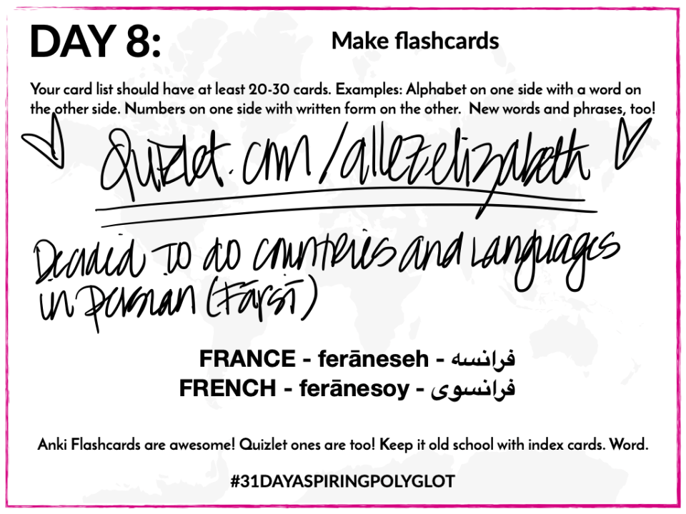 AE -DAY 8 - WORKSHEET - 31 DAY ASPIRING POLYGLOT CHALLENGE