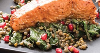 Roasted Salmon with Lentils, Pomegranate and Chard