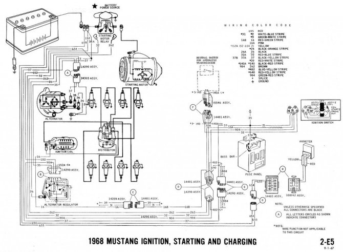 1965 ford mustang alternator wiring diagram starter relay