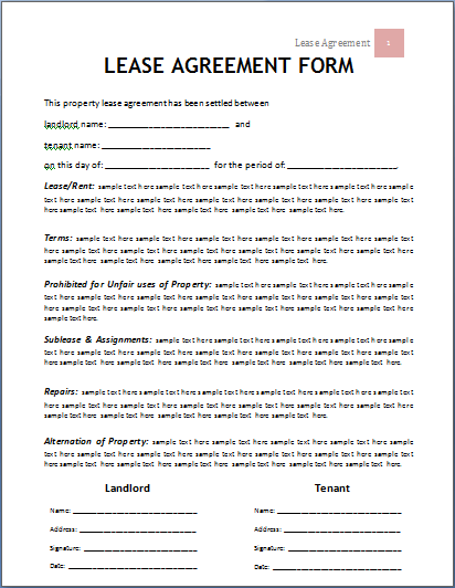 Rental And Lease Agreement Template All Form Templates - Leasehold agreement template