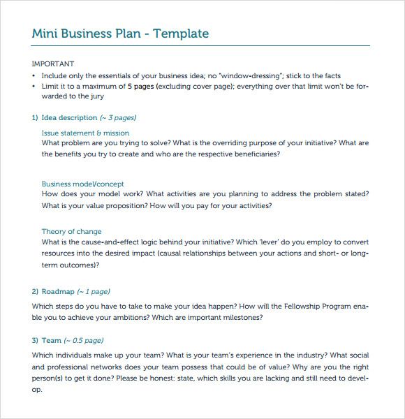 Free business plan templates samples 40 formats and for Two page business plan template
