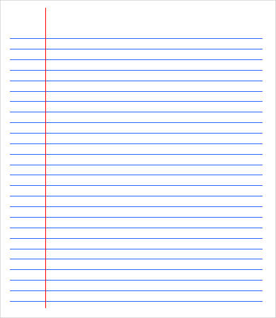 A4 lined paper with margin