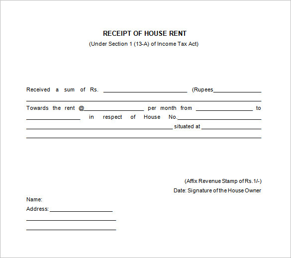 Free Receipt Printable Template for Excel , word, pdf Formats | All ...