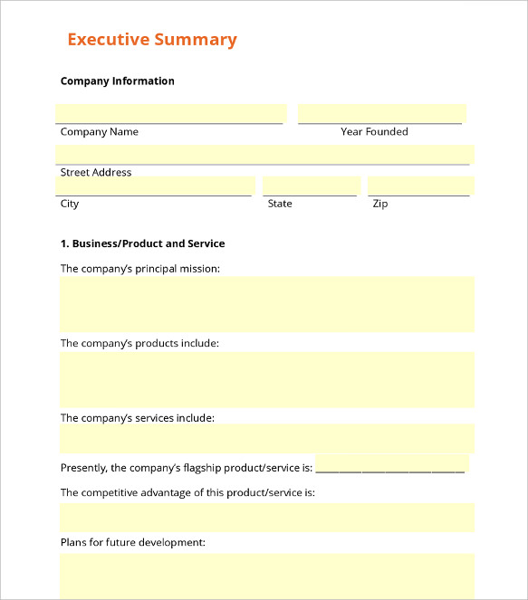 Executive Summary Templates  Examples And Samples  All Form