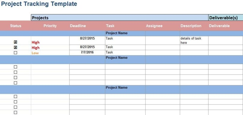 Multiple project tracking template