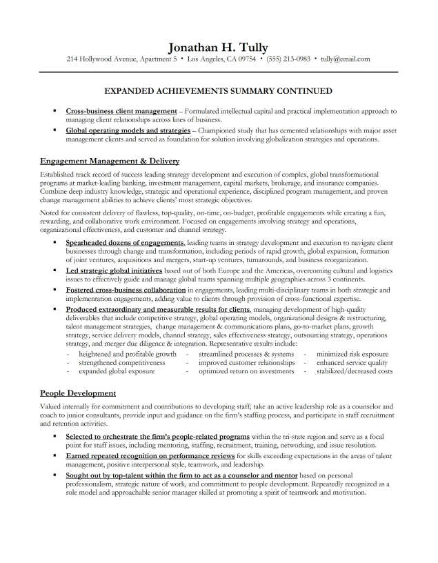 Resume Executive Summary Sample  Executive Summary Layout