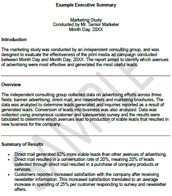 University Executive Summary Template:  Executive Summary Template For Report