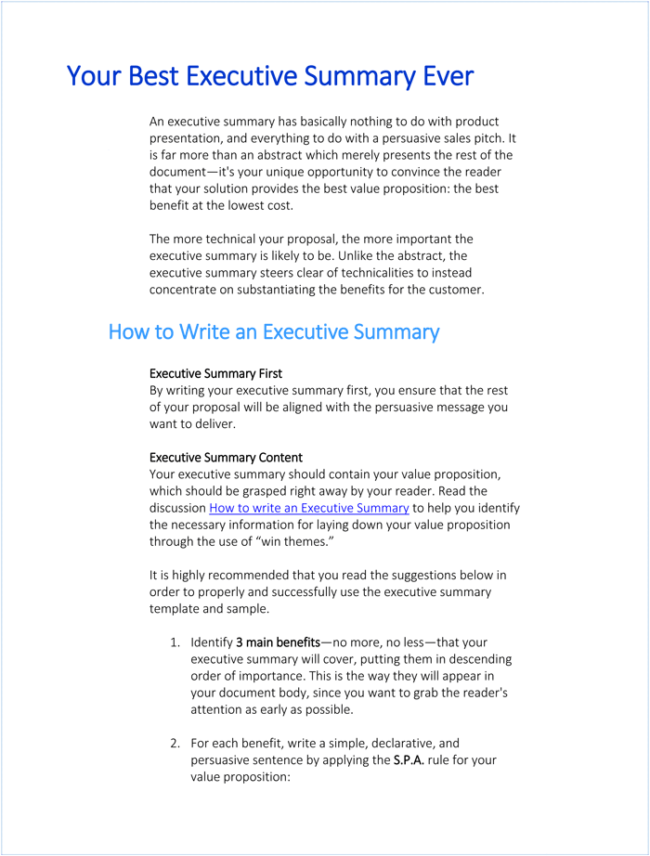Writing Executive Summary Template   An Executive Summary