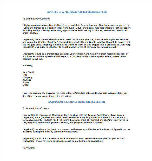 Professional character reference letter 15 samples and tips example of professional reference letter spiritdancerdesigns Gallery