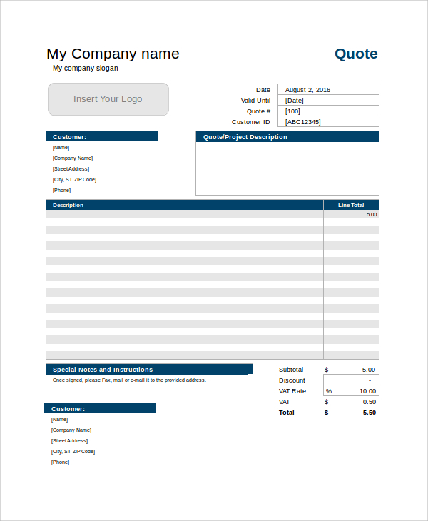 Free Best Quotation Templates Download Quotes For Word