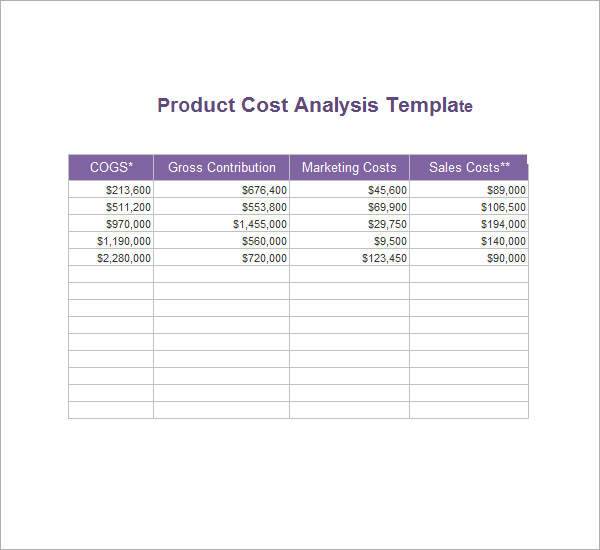 Cost Analysis Template  Cost Analysis Format