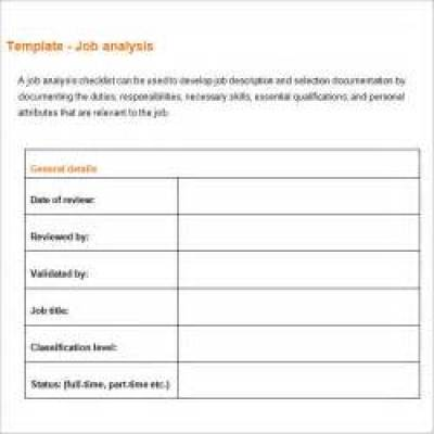 Job Analysis Template