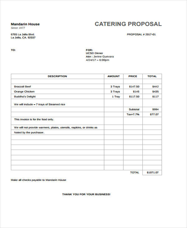 Catering Proposal Template Free  Contract Proposal Template Free