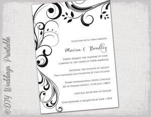 DIY Black & White Wedding Invitation Template