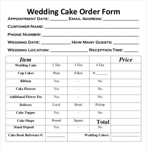 Wedding cake order form template