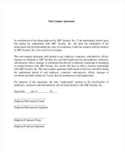 Non-compete agreement form
