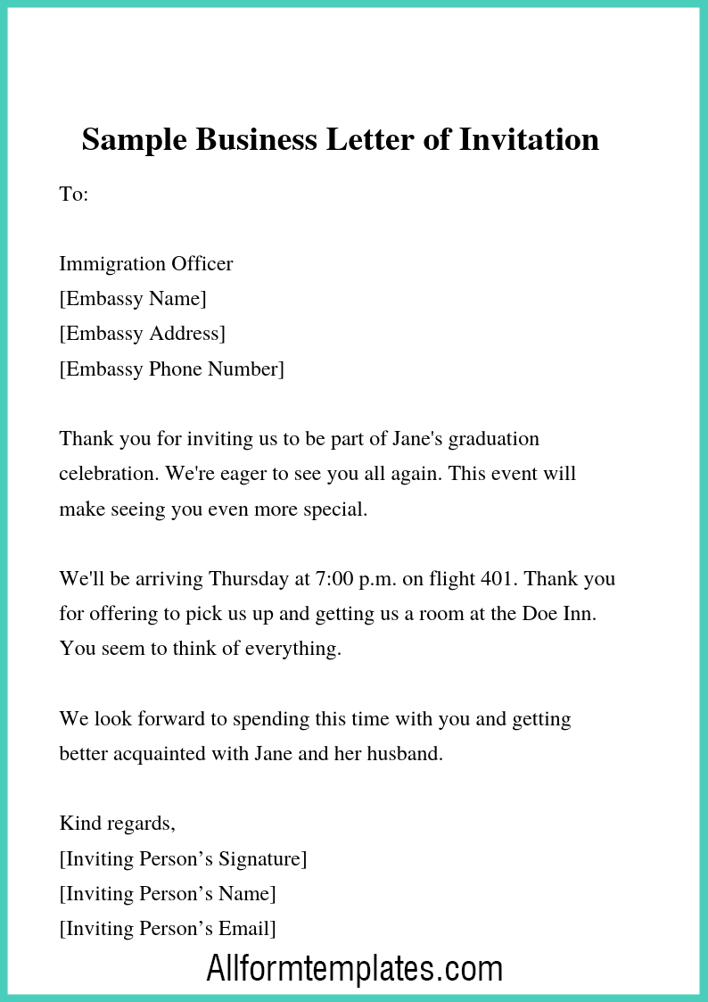 business letter of invitation templates