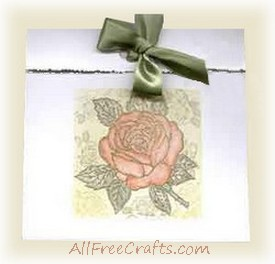 homemade rose motif greeting card