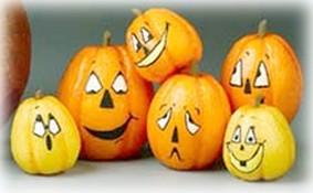 Decoupaged Styrofoam Mini Pumpkins