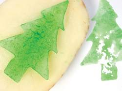 Christmas tree potato stamp