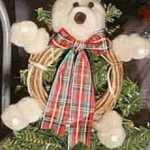 pompom bear on twig wreath