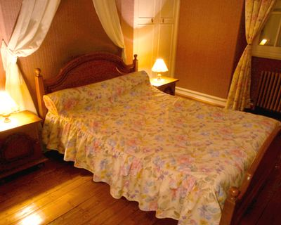bedroom with bed sheet canopy and dust ruffle
