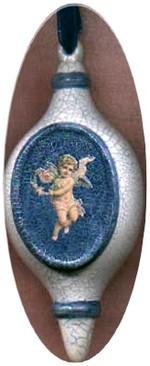 blue bisque angel ornament
