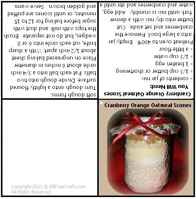 cranberry orange scones jar mix label