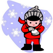 kid wearing hat, gloves and red snowsuit
