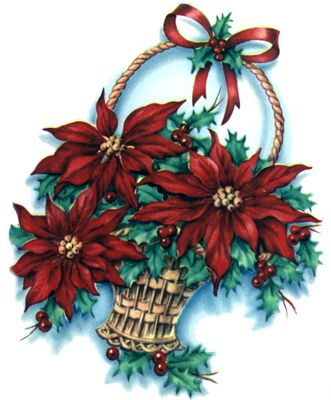 old-fashioned poinsettia basket