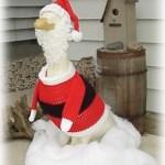 Crocheted Garden Goose Santa