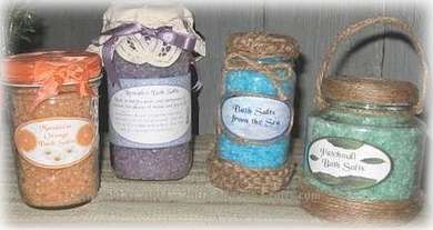 homemade bath salts in jars
