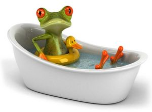 frog having a fizzy bath
