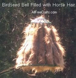 bird seed cage filled with horse hair for birds