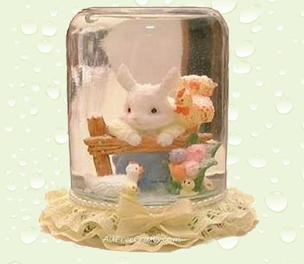 easter bunny water globe