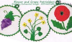 flower motif pot holders
