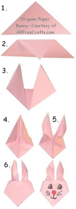 steps in making origami bunnies
