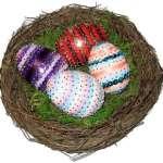 nest of homemade sequin eggs