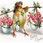 chick carrying eggs and flowers