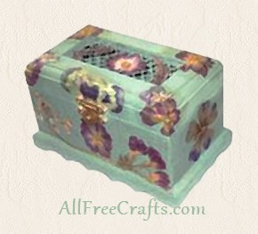 potpourri box with open grid and decoupage flower finish
