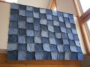 homemade denim patchwork quilt