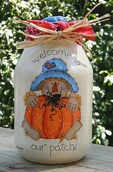 scarecrow and pumpkin painted jar