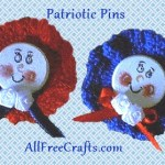 crocheted round patriotic pins