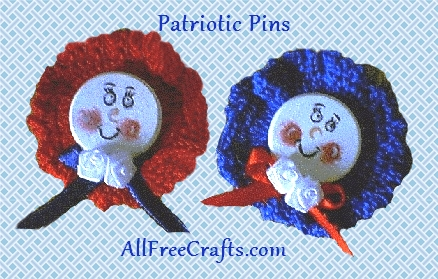 crocheted round patriotic pins
